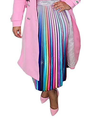 Choichic Women's High Waist Pleated Skirts - Casual Summer Multicolor Elastic Waist Swing A-Line Pleated Midi Skirt X-Large Multicolor-1