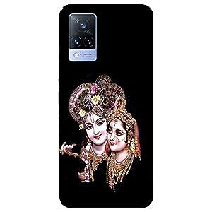 SmartNxt® Designer Printed Soft Plastic Mobile Cover for Vivo V21 5G  Spiritual  Black  Radha Krishna Face Potrait