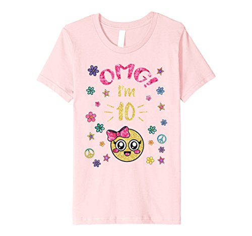 Kids Emoji OMG Birthday Shirts 10 Year Old Girl Premium TShirts Pink