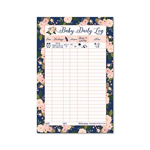 Newborn Baby Log Tracker Journal Book, Infant Daily Schedule, Feeding Food Sleep Naps Activity Diaper Change Monitor Notes For Babies, Mommy Nursing or Breastfeeding Record Tracking Chart 50 Sheet Pad ()