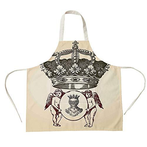 - 3D Printed Cotton Linen Big Pocket Apron,Medieval,Illustration Shield Design Art with Crest Badge Medallion Angel Royal,Cream Maroon Sepia,for Cooking Baking Gardening