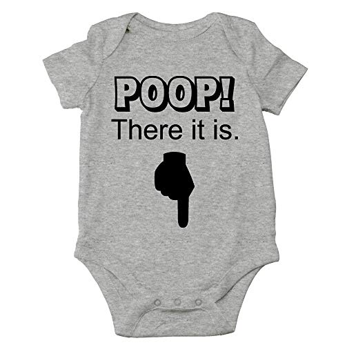 Crazy Bros Tees Poop! There It is Funny Cute Novelty Infant One-Piece Baby Bodysuit (Newborn, Heather Grey)