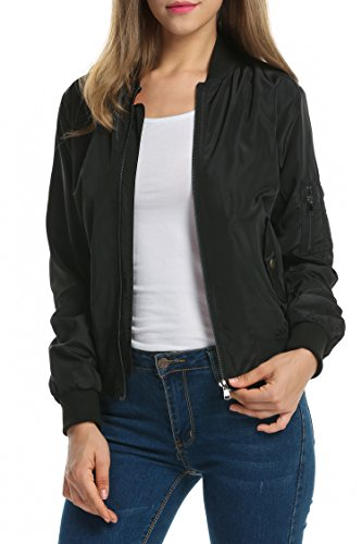 Zeagoo Women Classic Solid Biker Jacket Zip Up Bomber Jacket Coat Black S