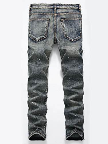 Corte Pantalones Color 4 Cintura Ajustado Recto Versaces Pequeño Imprimir Hombres Media Bomba Alta Jeans Iw76pP
