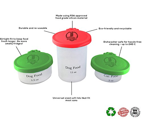 CAN COVER FOR PET FOOD – Pack of Two – FDA Approved Silicone Lids For Cat & Dog Food – Food Covers Seals the Can to… Click on image for further info. 6
