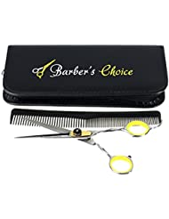 Professional Hair Cutting Barber Scissors/Shears with Comb and Case - 6.5'' Overall Length - Japanese Stainless Steel - Sharp Razor Edge - with Adjustment Tension Screw - by Barber's Choice