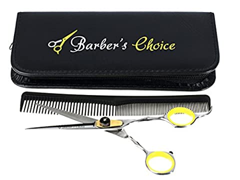 Barber's Choice Professional Hair Cutting Barber Scissors/Shears with Comb and Case - 6.5'' Overall Length - Japanese Stainless Steel - Sharp Razor Edge - with Adjustment Tension - Zebra Parts Screw