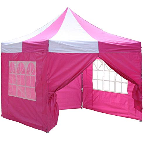 10'x10' Pop up 4 Wall Canopy Party Tent Gazebo EZ Pink White - E Model By DELTA ()