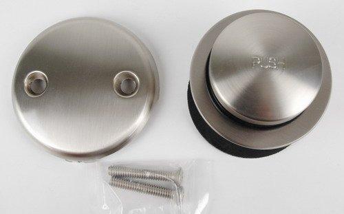 Bathtub Tub Replacement Drain Trim kit - Satin Nickel Finish, Tip Toe Type, By Plumb USA by PlumbUSA