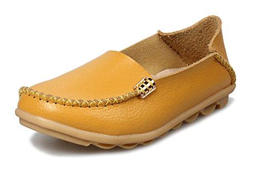 Dames Pour Jaune Auspicious En Cuir Mocassins Beginning Chaussures aTT0q6Y