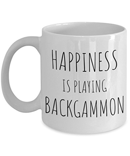 Funny Backgammon Player Gift - Back gammon Lover Coffee Mug - Gag Birthday Gifts for Him, Her, Mothers, Fathers Day, Christmas Present - HAPPINESS IS PLAYING BACKGAMMON - Ceramic Tea Cup White (11oz)