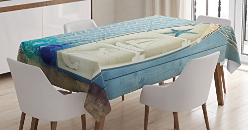 (Ambesonne Nautical Decor Tablecloth, Sea Objects on Wooden with Vintage Boat Starfish Shell Fishing Net Photo, Dining Room Kitchen Rectangular Table Cover, 52 W X 70 L Inches, Blue Cream)