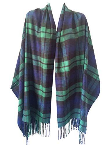 (Women Oversized Scottish Clan Tartan Plaid Cashmere Feel Shawl Wrap Winter Scarf (Green Tartan))