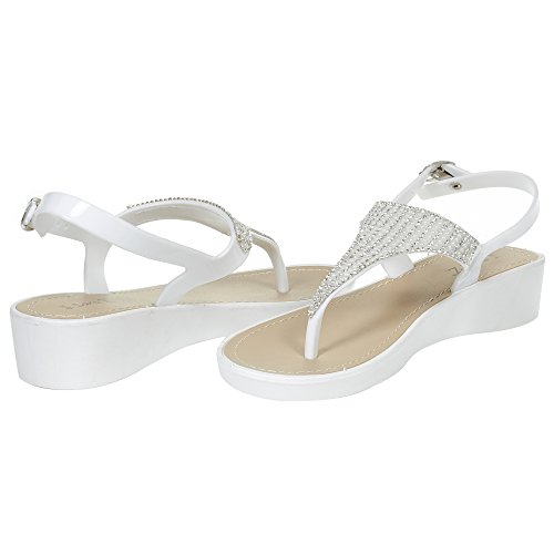 Sara Z Womens Rhinestone Wedge Sandals Thong Platform Beaded Slingback T Strap Summer Shoes Size 11 White