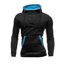 uxcell® Men Double Breasted Upper Kangaroo Pocket Drawstring Hoodie