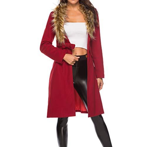 Womens Winter Coat Duseedik Cashmere Faux Fur Jacket Bow Overcoat Outwear