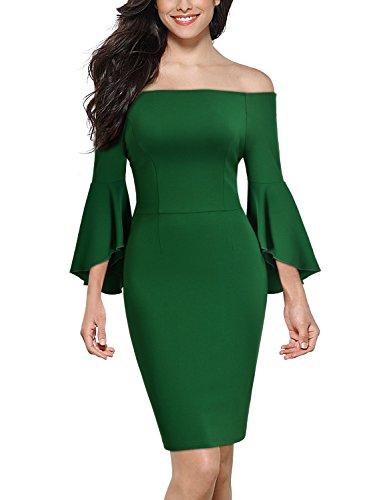 Miusol Women's Casual Off Shoulder 2/3 Sleeve Slim Bodycon Pencil Dress (X-Large, Green)