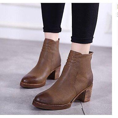 Las mujeres iluminan las botas zapatos PU Oficina &Carrera Casual Negro Marrón Brown