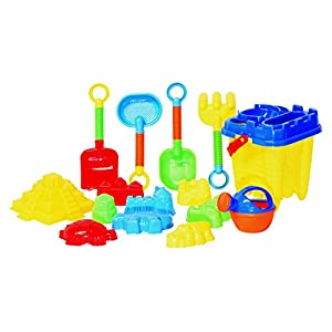 G & F Products JustForKids Beach Toy Set, Summer Beach Fun Activity, Castle Bucket Sand Mold 16 Piece Set, Play Kit for Kids With Heavy Duty Reusable Mesh Bag