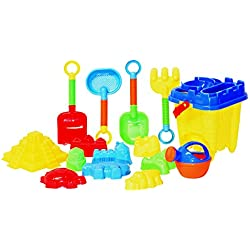 JustForKids Beach Toy Set, Summer Beach Fun Activity, Castle Bucket Sand Mold 16 Piece Set, Play Kit for Kids With Heavy Duty Reusable Mesh Bag