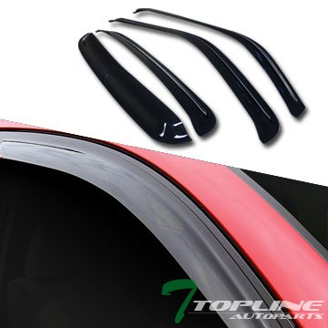 Topline Autopart Sun/Rain Guard Smoke Vent Shade Deflector Window Visors For 01-06/07 Silverado Crew