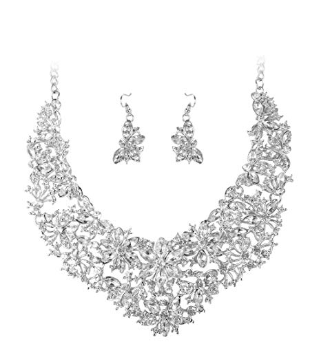 ORAZIO Rhinestone Statement Necklace Earring Set for Women Girls Bridal Bridesmaid Jewelry Sets for Wedding