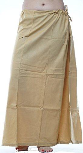 Odishabazaar Women Saree Petticoat Cotton Underskirt Lining For Sari + Free Sari Pin (Gold) by Odishabazaar (Image #2)