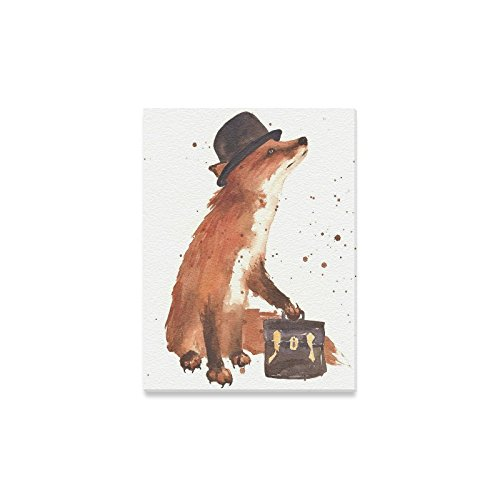 Halloween Decor Cute Little Fox Wearing Hat Art Oil Painting Canvas Print Modern Wall Art for Home (Cute Halloween Paintings)