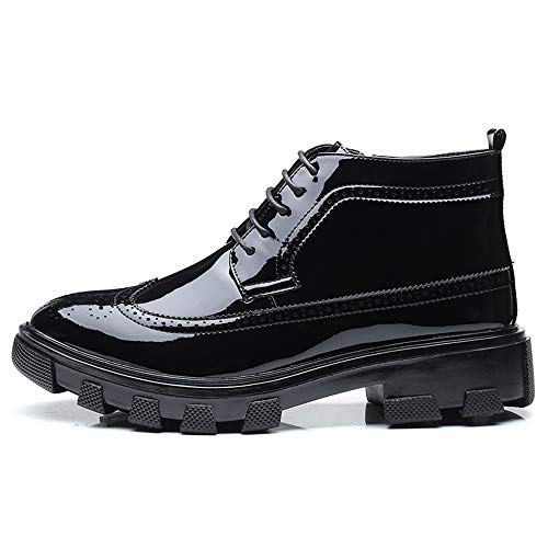 HYF Men's Business Ankle Boots Casual Fashion Anti-skid Thick Patent Leather Brogue Formal Shoes Dress Shoes (Color : Black, Size : 9.5 D(M) US) by HYF (Image #1)