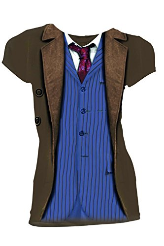 Doctor Who Classic Womens T-Shirt 10Th Doctor Costume Brown L
