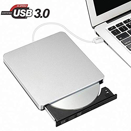 Snorain External CD/DVD Drive,USB 3.0 DVD +/-RW Superdrive CD Burner with High Speed Data Transfer Compatible for MacBook Laptop Desktop PC Windows10 /8/7 /XP Linux Mac OS (Silver)
