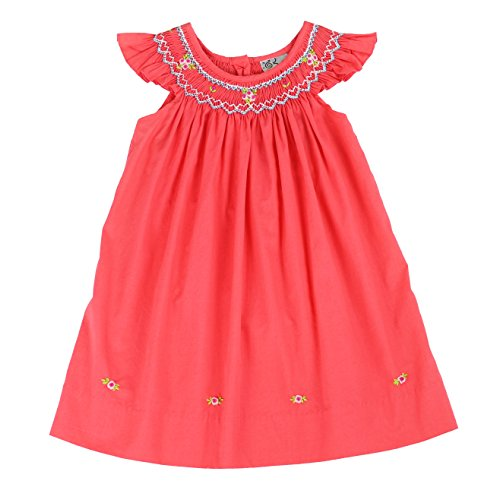 sissymini - Infant and Toddlers Carly Orwin's Soft Hand Smocked Angel Sleeve Dress in Coral 4T