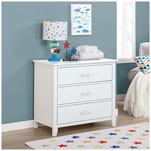 Bedroom Dream on Me Universal 3 Drawers Chest | Kids Bedroom Dresser | Three Drawers Dresser Mid Century Modern, White