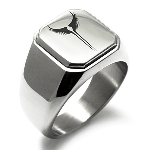 Stainless Steel Iconic Rise of the Valkyrie Engraved Square Flat Top Biker Style Polished Ring, Size 7 (Rise Rings)