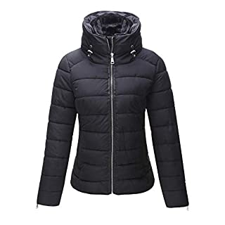 Bellivera Women's Quilted Lightweight Padding Jacket, Puffer Coat Cotton Filling Water Resistant Black X-Small