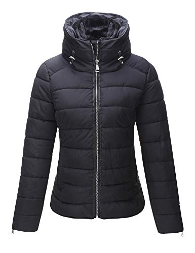 Bellivera Women's Puffer Coat for Winter, Quilted Lightweight Jacket with 2 Pockets, Cotton Filling, Water Resistant