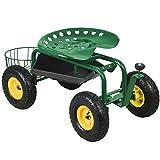 Green Heavy Duty Garden Cart Rolling Work Seat w/Tool Tray Gardening Planting Yard