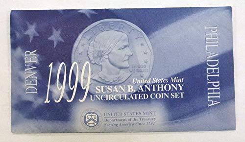 1999 P&D Susan B Anthony Uncirculated 2-Coin Set -SBA - Original Government Packaging BU