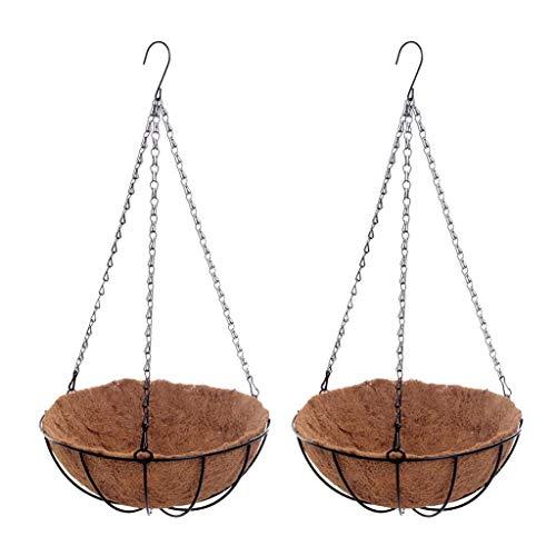 Agordo 2pcs Hanging Basket Planter Chain Flower Plant Pot Home Garden 10