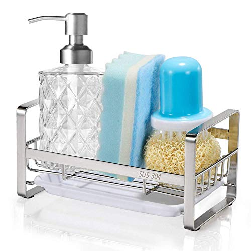 HULISEN Sponge Holder, Kitchen Sink Organizer, Sink Caddy, Sink Tray Drainer Rack, Brush Soap Holder with Removable Tray (Silver)