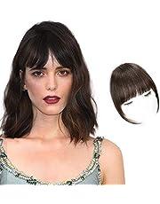 HANYUDIE Clip in Bangs Human Hair Bangs Hairpiece Dark Brown Clip on Air Bangs with Temple Wispy Bangs Hair Extensions for Women