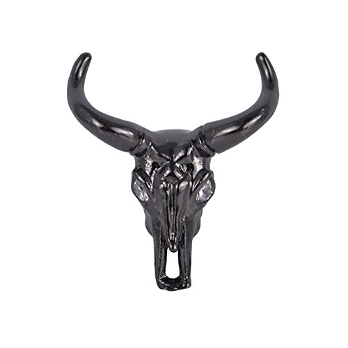 DongStar Jewelry Findings Cooper Zirconia Crystal Gold Filled Long Horn Cow Connector Charm (Black)