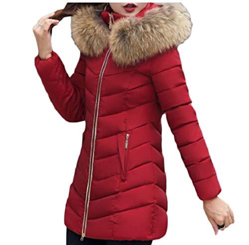 Il Incappucciati Caldo Pesce Sicurezza Donne Di Basso Il Rosso Verso Lungo Eco Cappotti Cappotto Palla pelliccia Vino AqOXg