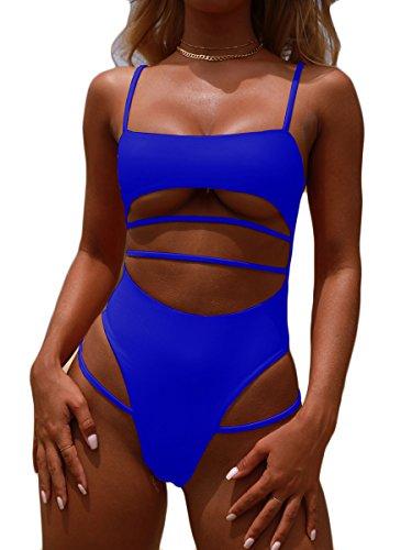 MOPOOGOSS Womens High Waisted Bikini Bathing Suit Push up Padded High Cut Thong Sporty One Piece Swimsuit Blue S ()