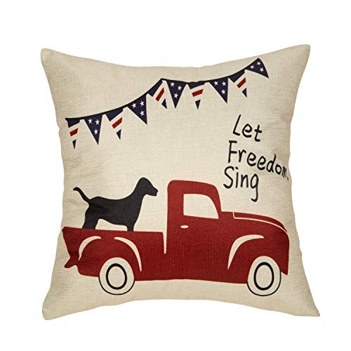 Fjfz July 4th Farmhouse Decorative Throw Pillow Cover Let Freedom Sing Patriotic Quote Sign Decoration Vintage Red Truck with Dog Rustic Home Decor Cotton Linen Cushion Case for Sofa Couch, 18