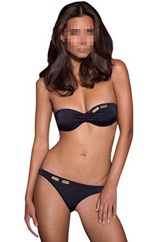 """Antemi - Damen - Bikini verstellbaren Trsgern bunten """"Aiza"""" - Schwarz - Grobe L"""