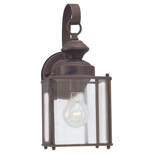 (Sea Gull Lighting 8457-71 Single-Light Jamestowne Outdoor Wall Lantern with Clear Beveled Glass, Antique)