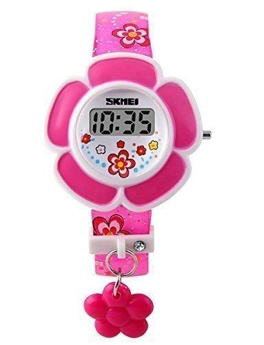 SKMEI Kid's SK1144A Novelty Cute Flower Shape Digital Watch Rose Red