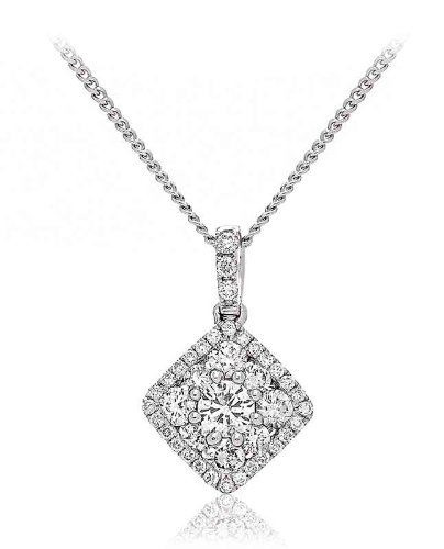 0.50CT Certified G/VS2 Round Brilliant Cut Cluster Radiant Shape Diamond Pendant in 18K White Gold