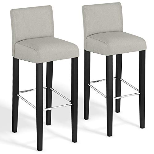 COSTWAY Bar Stool, Modern 40 Contemporary Bar Stool with Height Fabric Padded Backrests and Seats Barstools with Solid Wood Legs Pub Bistro Kitchen Dining Side Chair Beige, Set of 2